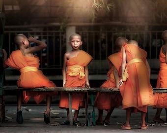 "Mini Acrylic Print, Photo under Acrylic Glass, 'Novice Monks"", in Chiang Mai, Thailand"