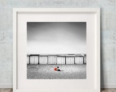 Photographic Art Print, Minimalist Fine Art Photography, quot Red Ball quot , Young child with ball sitting on the beach of Knokke Zoute, Wall Art
