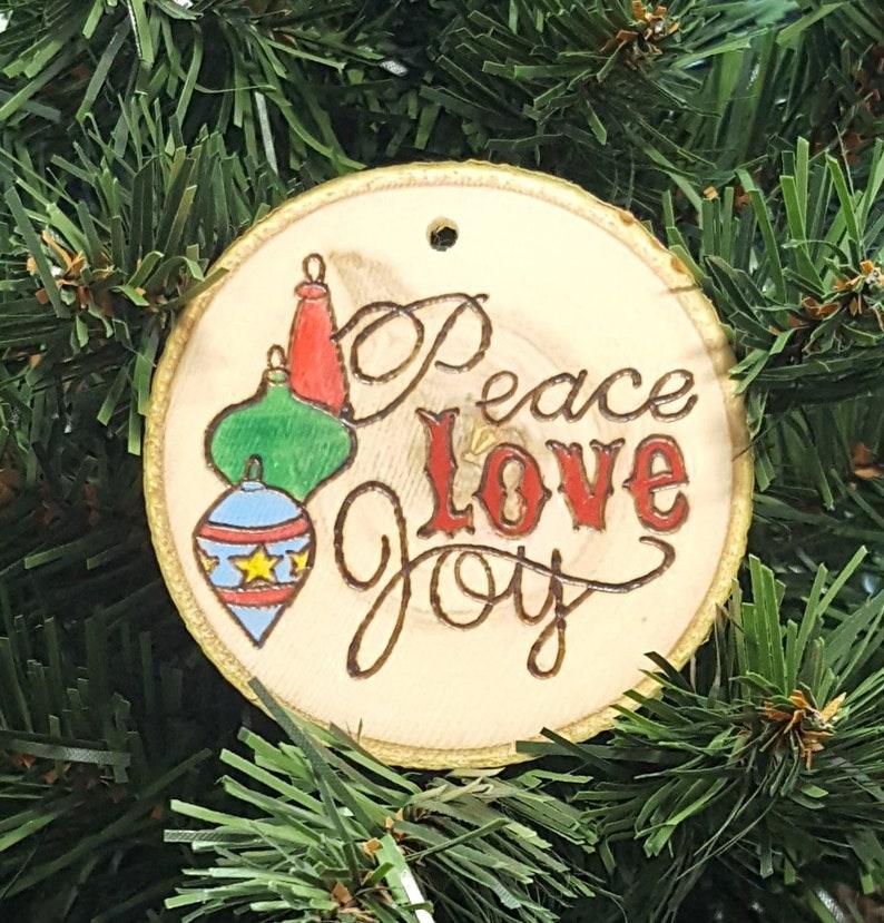 Peace Love Joy Christmas Ornament Handmade Ornament Christmas Christmas Tree Christmas Decoration Tree Ornament Holiday Decor