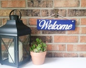 Welcome sign Porch decor Blue Welcome sign