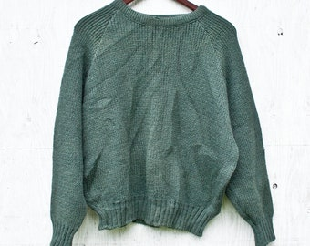 8b1b05d2809 Green Wool MEC Sweater - Heavy Green Wool Sweater - Large - Vintage Cabin  Sweater - Cabin Wear - 70s Mountain Equipment Co-Op Wool Sweater