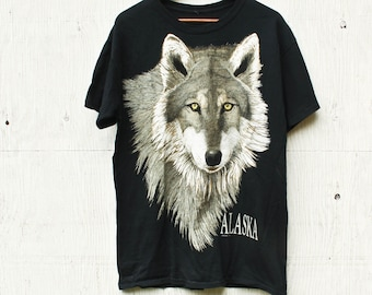 71c713c08 90s Wolf Face Shirt - Vintage Wolf TShirt - 1990s Wolf Shirt - 90s Graphic  Tee - Vintage Nature Tee - Alaska Shirt - 90s Alaska Wolf Shirt