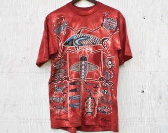 b09c5db39c0 90s Churinga Shirt - Medium - Vtg Nawalah Dreaming TShirt - 90s Graphic Tee  - Australian Indigenous Graphic - Vintage Dagoli Inspired Tee