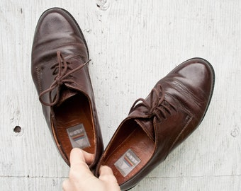5fb7f78d7ee12 Brown Leather ALDO Shoes - 38 - Leather Lace Up Shoes - Vintage Plain Toe  Derby Brown Leather Shoes - Lace Up Brown Leather Aldo Shoes -
