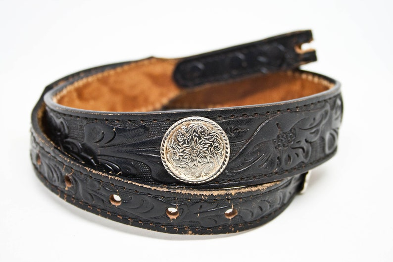 Small Size Vtg Leather and Concho Belt Vintage Silver Colored Concho Leather Belt 90s Black Leather and Concho Belt Western Fashion