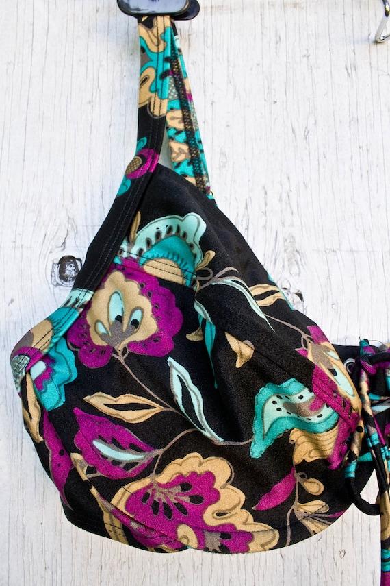 80s Bikini Top - 90s Black Floral Tie Up Bust Swi… - image 2