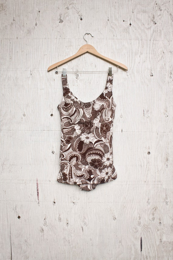 60s One Piece Bathing Suit - Brown Floral Pin Up P