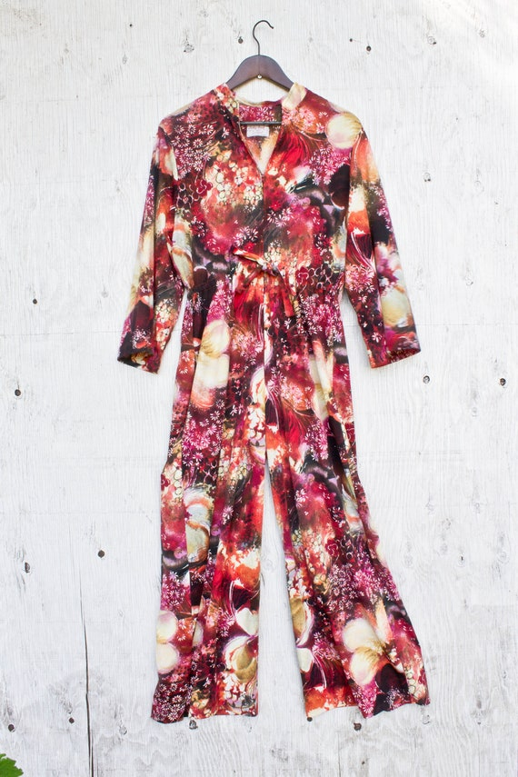 60s Loungees Jumpsuit - VIntage Boho Robe - Judy G
