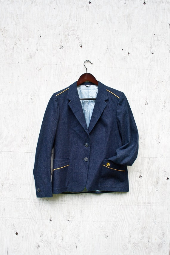 80s Drapeshire Denim Coat - Vintage Denim Blazer -