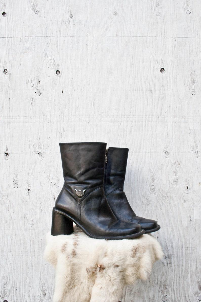 7c9c57dba83a 90s Chunky Heel Harley Davidson Boots Vintage Zip Boots