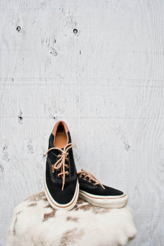 768727b9a4 80s VANS Sneakers Size 6.5 Womens Vtg Black Suede