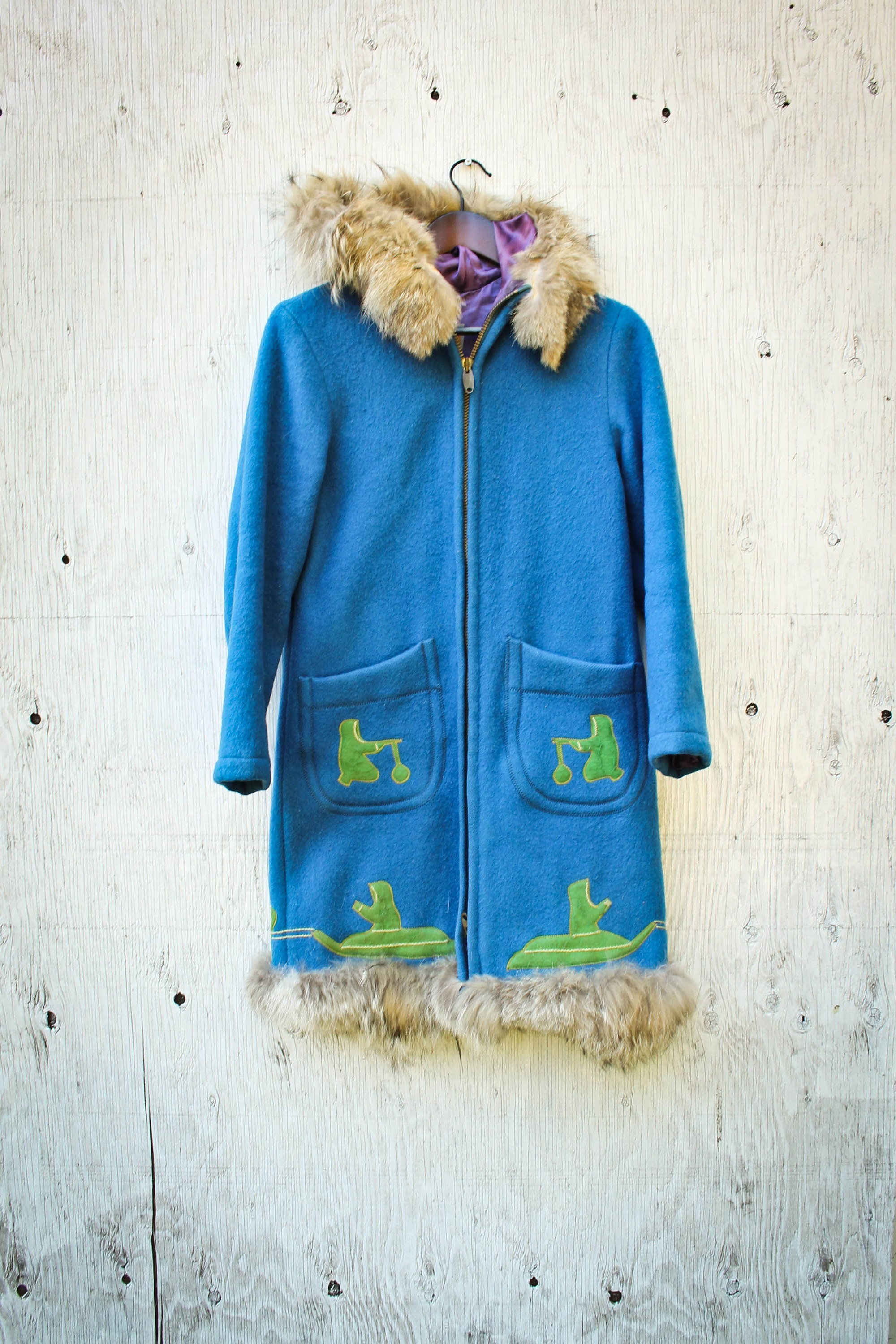 f19ae2aff6f Arctic Inuvik Wool Parka - Small 70s Canadian Arctic Made Wool Jacket - Fur  Collar- Hooded Igloo Coat - Vtg Inuit Style Parka