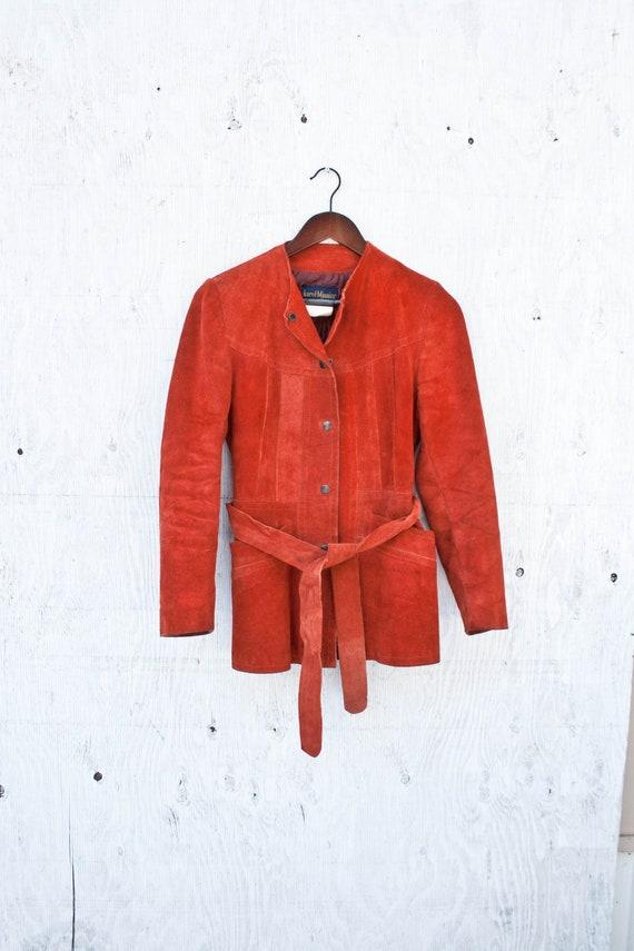 Rust Orange Suede Leather Jacket - Size 8 Vtg Insu