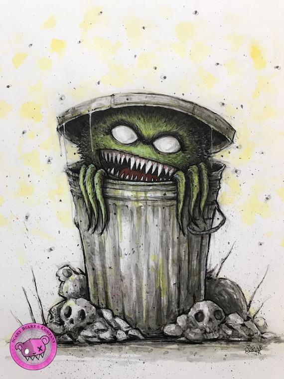 Oscar The Grouch Nightmare On Sesame Street Original Art