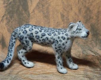 Needle Felted Snow Leopard - realistic felt animal, big cat, leopard sculpture, panther