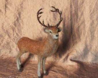 Needle Felted Stag - realistic red deer stag, wool felt animal, wildlife sculpture