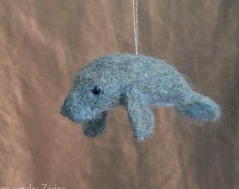 Needle Felted Manatee - wool felt decoration, hanging ornament, Christmas tree