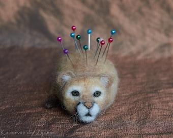 Needle Felted Pin Cushion Cougar - Mountain Lion, Puma pincushion, wool felt, sewing accessory, animal gift