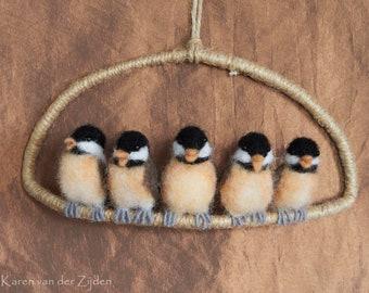Needle Felted Chickadee Chicks - wool felt birds, hanging ornament