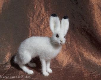 Needle felted Mountain Hare - wool felt arctic hare, realistic animal ornament