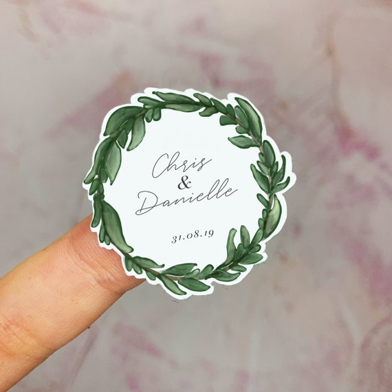 Personalised wedding stickers in blush pink watercolour and calligraphy effect for wedding stationery gift bags confetti bags wedding favours and more. envelopes