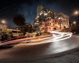 Fine Art Photo Print - San Francisco Lombard Street Light Trails | Choose Standard Print, Canvas, Metal or Acrylic | San Francisco Pictures