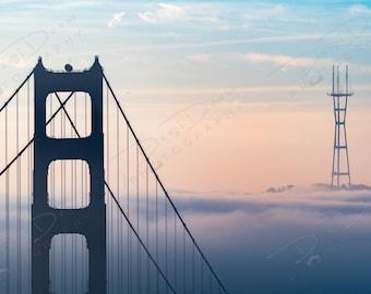 Fine Art Photo Print - Golden Gate Bridge Sunrise | Choose Standard Print, Canvas, Metal or Acrylic | San Francisco California Sutro Tower