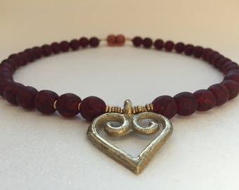 Deep Red Recycled Bead Necklace, African Recycled Bead Necklace, Recycled Bead Necklace With Heart Pendant
