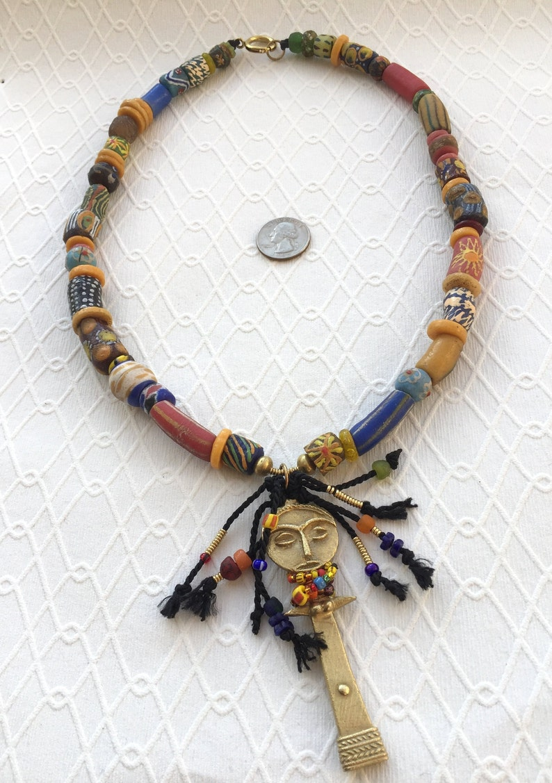 Tribal Jewelry Akuaba Pendant Necklace Gift for Her Ethnic Jewelry Colorful Beads Recycled African Beads 66 cm Krobo Beads Ashanti