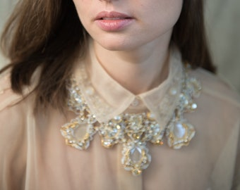 Fashion necklace - Wedding necklace - Crystal necklace - Nude necklace - Beige necklace - Champagne necklace