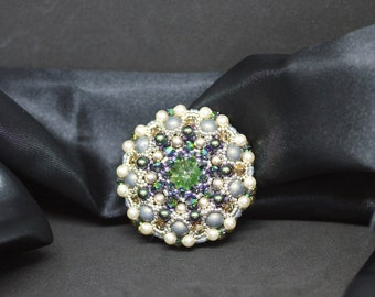 Sparkle Vintage Brooch - Brooch with crystal Stones - Green pale brooch - Pastel colors brooch - Mother's Day Present