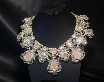 Bridal necklace with Swarovski crystals - Evening necklace - Wedding necklace and earrings