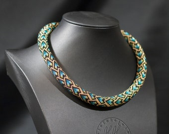Elegant Snake Scales Necklace - Chunky Bib Necklace - Short Rope Necklace - Unique Mother's Day Present
