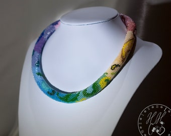 Rainbow necklace - Paisley Rope Choker - Gradient chunky necklace