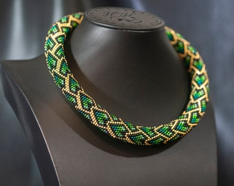 Bead Crochet Necklace - Green Rope Necklace - Necklace with scales pattern - Birthday Gift