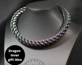 Dark Dragon Skin Chunky Necklace - Black Bib Necklace - Rope necklace with scales