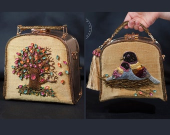 Golden Purse - Handbag with Birds Embroidery - Evening Bag with a Colorful Tree - Gold Prom Purse - Gold Wedding Bag