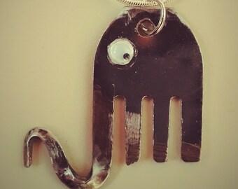 Googly Eyed Elephant Necklace - Repurposed Fork