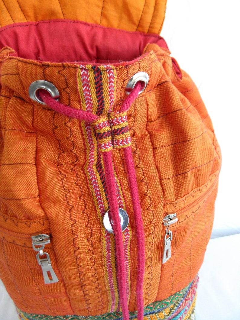 Orange Boho backpackEthnic rucksackWoven folk bag