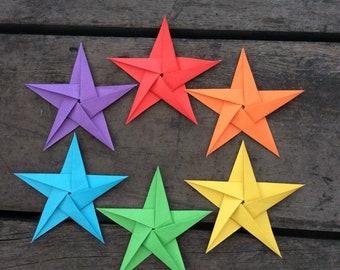 6 rainbow origami stars