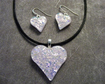 Pastel Pink Dichroic Heart Pendant & Earring Set
