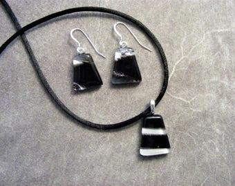 Black, White & Silver Fused Dichroic Glass Petite Pendant Set