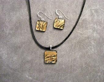Bronze Ferns Fused Glass Petite Pendant Set