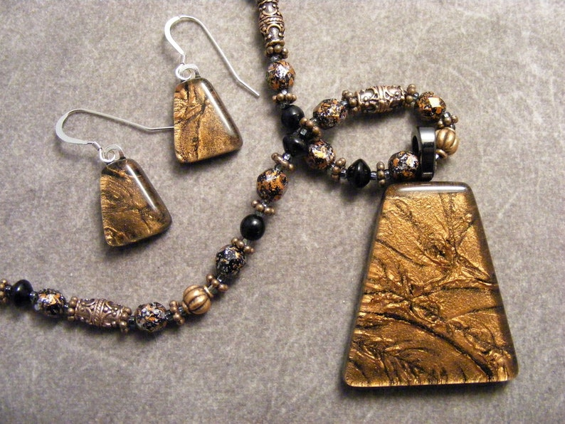 Antique Copper Beaded Fused Glass Pendant /& Earring Set