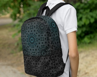 zellige backpack - dark and turquoise tiles