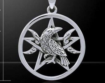 Raven Moon Pentagram Necklace - Raven Moon, Pagan, Pentagram Pendant, Triple Moon, Wiccan, Celtic - # M-P121