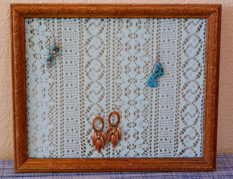 Weathered Oak Engraved Wood Earring Holder