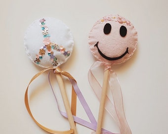 Retro Fairy Wands / Smiley Magic Wands / Happy Face Wand / Boho Wand / Flower Crown / Peace Sign / Peace Wand / Dress up / Costume