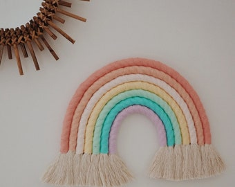 Macrame Rainbow Wall Hanging / Nursery Decor / Nursery Wall Art BRIGHT PASTEL