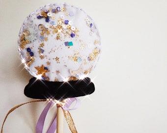 Crystal Ball Shaker Wand / Halloween Confetti Wand / Boo Basket / Halloween Fairy Wand